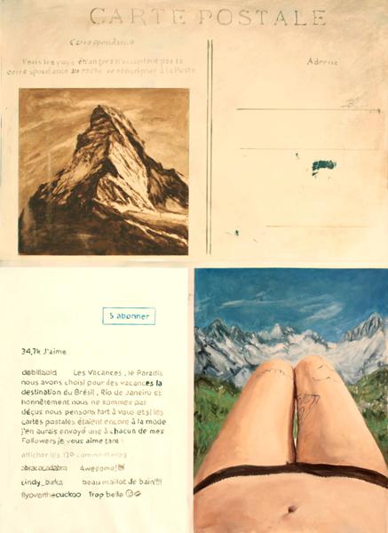 Selfie avec carte postale